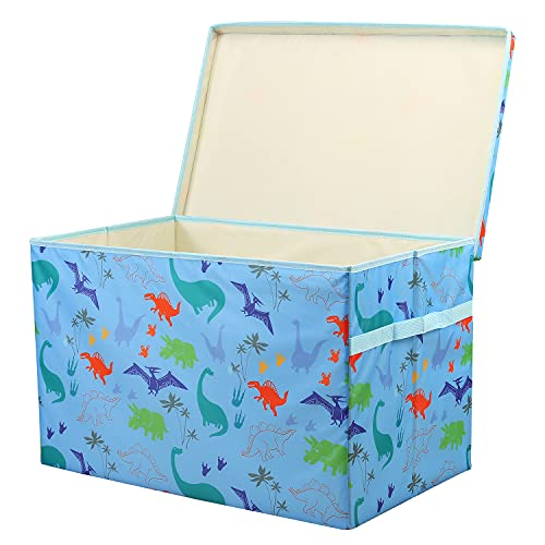 Toy Chest Storage Boxes Kids Large With Removable Sturdy Lid and Two Handles, PPC Material More Sturdy Foldable Organiser Box, Animal Cube Cute, for Nursery, Boys And Girls Room, 24x14.9x14.9inch
