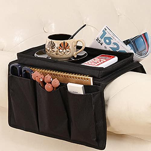 Gidenfly Organizador de apoyabrazos para sofá, bolsillo antideslizante para sillón con 5 bolsillos, bolsa de almacenamiento para tazas, bandeja, teléfono, libro, revistas, TV mando a distancia