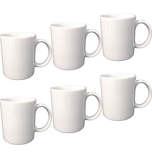 Doriantrade Kaffeebecher 6 Stück Tassen 300ml aus Porzellan Kaffee Becher Porzellantassen 6er Set Haushalt Gastronomie Geschirr, Tasse zum Bemalen oder Bedrucken geeignet