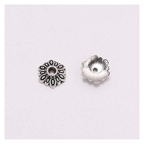 WEIGENG 50 unids/lote 8mm 12 pétalo redondo flor grano Cap extremo Socket Torus anillo espaciado grano Cap para joyería