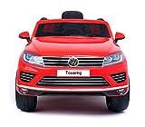 B81323 Coche eléctrico para niños SUV VOLKSWAGEN Touareg asiento de cuero 12V - Rojo