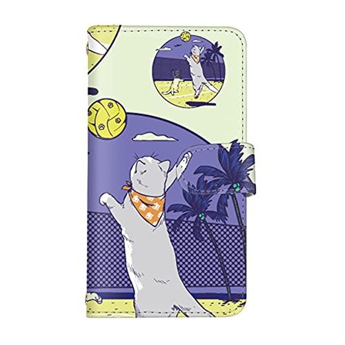 スマホケース V20 PRO L-01J カード収納 スタンド機能 付き 手帳型 ケース LG エルジー ブイトゥエンティ プロ docomo (B.イエロー) 猫 ビーチ バレー 夏 スポーツ スマ通 vd-0479