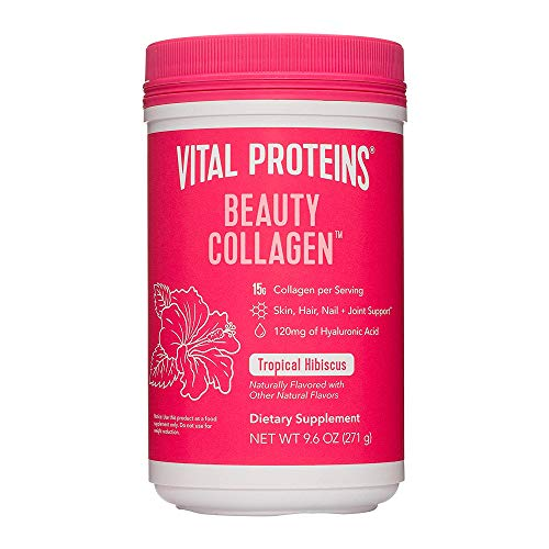 Vital Proteins Beauty Collagen Peptides Powder Supplement for Women, 120mg of Hyaluronic Acid, 15g of Collagen Per Serving, Enhances Skin Elasticity and Hydration, Tropical Hibiscus, 9.6oz Canister