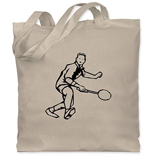 Sport Kind - Badminton Action - Unisize - Naturweiß - Tennis - WM101 - Stoffbeutel aus Baumwolle Jutebeutel lange Henkel