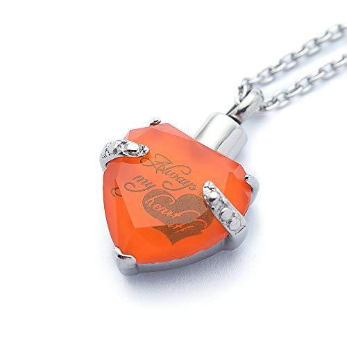 Roestvrij staal hart indringing urn halsketting voor as urn sieraden meorial hanger Always in My Heart gravure met 22