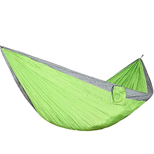 XHLLX Parachute Hammock Garden Swing 210T Paño de Nylon Luz y portátil Hamaca de Camping Doble Adecuado para Parques Bosques de Playa Patio Gardens Camping,Verde,One Size