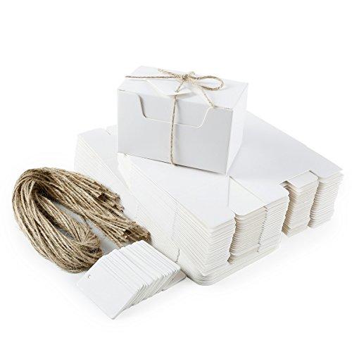 Anladia Set de 50 Cajas para Dulces Regalos Jabón Caja Kraft Blanco de Boda Rútico Cajita de Rectángulo Kraft Paper Blanco
