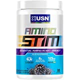 USN Energizing Amino Stim Sugar Free Energy Supplement - Energy, Stamina Recovery Powder with BCAAs, Blue Raspberry, 30 Servings
