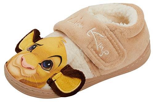 Disney Der König der Löwen 3D Hausschuhe Simba Jungen Mädchen Fell gefüttert einfach zu befestigen Neuheit Hausschuh, Beige - beige - Größe: 25 EU