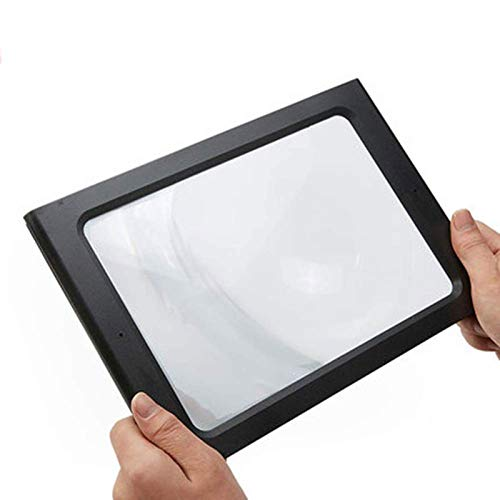 Full Page Reading Magnifier with LED Lighted, 5X Hands-Free Rectangular Magnifying Glass, for Low Vision Seniors Repair Observation