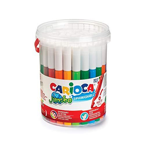 Carioca Jumbo | Stylos de Coloriage Lavables à Pointe Feutre pour Enfants Jumbo Box, Maxi Stylos Marqueurs à Pointe Epaisse avec Livres de Coloriage pour Enfants, 50 Pièces