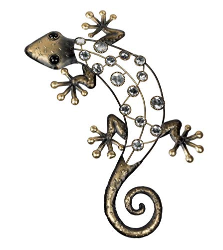 KLP Wanddeko Gecko Deko Tier Figur Lurch Eidechse Metall Echse Drachen Skulptur
