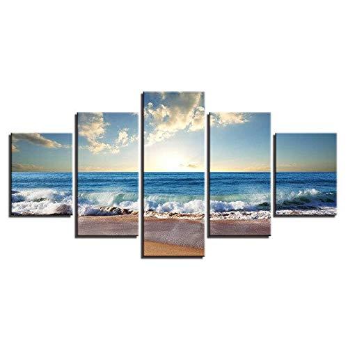 ZSMD Fünf dekorierte Familienwohnzimmer Strand Meerwasser Meerblick Hintergrund Wandbild 150 X 80 cm Rahmen Dunkelgrau