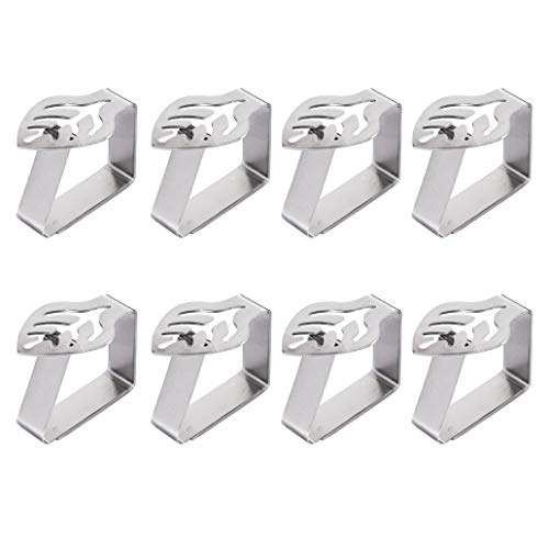 RZKJ-SHOP Pinza de Mantel Acero Inoxidable, 8 Piezas Reutilizar Clips de Mantel para Banquete de Boda, Restaurante, Hogar, Jardín y Decoración Mesa (Silver)