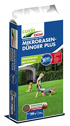 Cuxin Mikrorasen-Dünger Plus | für 200 qm | NPK-Dünger 10-3-18 + 3 MgO + 0,2% Fe | 10 kg Rasendünger | gegen Moos und Filz im Rasen