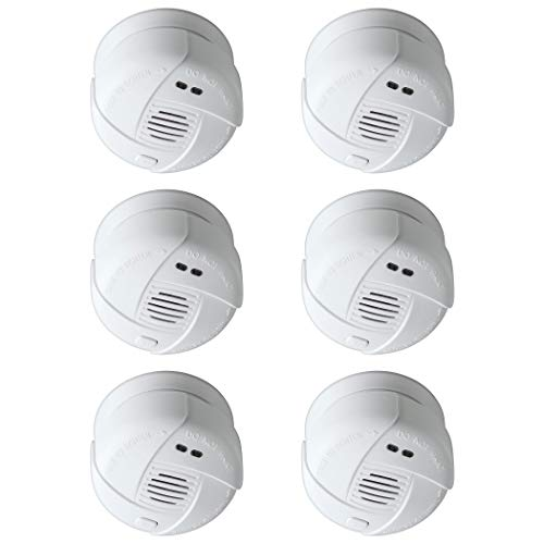 SEBSON 10 Jahres Mini Rauchwarnmelder, DIN EN 14604, VDs 3131, fotoelektrischer Rauchmelder, Lithium Batterie, Stummschaltung, Ø 69x46mm, 6er Pack