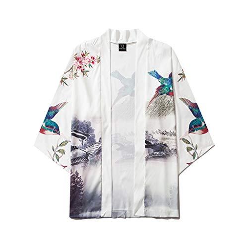 Ukiyoe Baggy Tops mit Antik Jacke, Herren T-Shirt Nachthemd mit Frühling-Sommer, Strickjacke Beiläufige Bademantel Nachtwäsche fur Outdoor- Freizeit und gewöhnlichen (Negro,L)