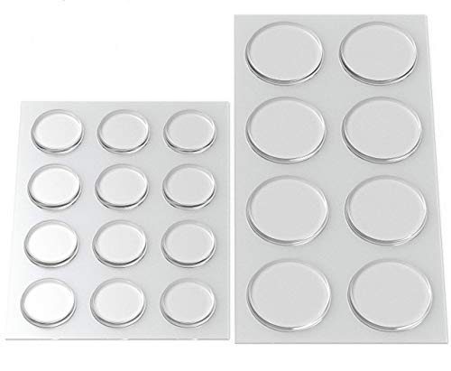 Round Clear Adhesive Bumpers Combo (Large, Medium) - Transparent Self Stick Rubber Pads for Glass Table Top, Furniture, Laptop, Mirrors - 20 PCs