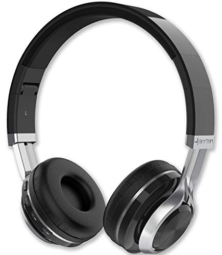 Aduro Resonance Bluetooth Wireless Headphones with Microphone Foldable Over The Ear Headphones with Mic Rechargeable Wireless Headset - Black/Silver