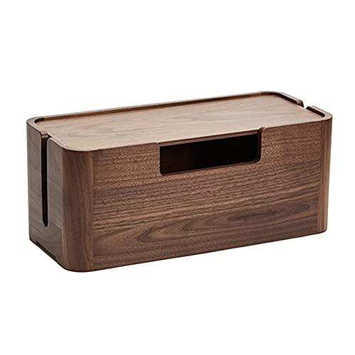 Caja De Almacenamiento para Enrutador Estante para Almacenamiento Y Clasificación De Cables De Alimentación De Pared Escritorio De Madera para Decoraciones (Color : Brown, Size : 32 * 14 * 13cm)