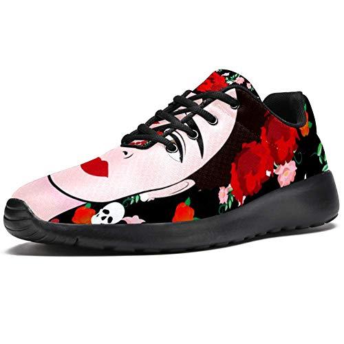TIZORAX Sport-Laufschuhe für Frauen Frida Kahlo Young schöne mexikanische Frau Mode Sneaker Mesh atmungsaktiv Walking Wandern Tennis Schuh, Mehrfarbig - mehrfarbig - Größe: 38 EU