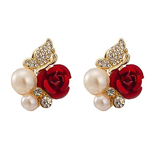 Ameesi - Pendientes para mujer, diseño de rosas rojas, perlas sintéticas, color rojo
