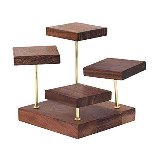 Moligh doll Walnut Jewelry Display Stand, Four-Layer Rotatable Earring Tray Earrings Rings Bracelets Pendant Display Stand