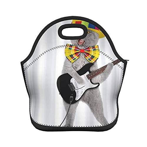 ADONINELP Bolsa de almuerzo con aislamiento para mujeres y hombres, gato divertido con guitarra eléctrica, bolso de mano con aislamiento térmico resistente al agua, caja de almuerzo, enfriador de ali