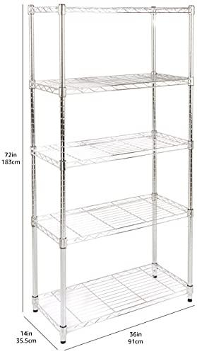 Amazon Basics - Estantería con 5 baldas, cromado