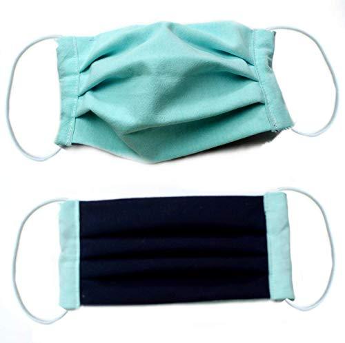 (Behelfs) Mundschutz Baumwolle, mint-dkl.blau, waschbar bei 60 °, Handmade in Germany
