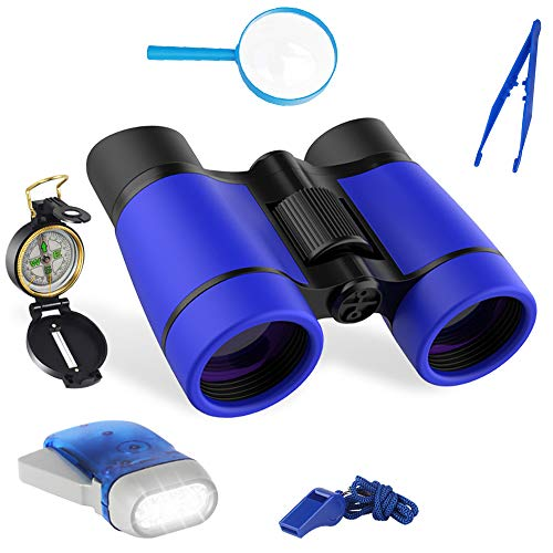LOVEXIU Kit Explorador niños, Binocularesniños exploración Kit 6 en 1, Prismáticoscompactos, Brújulaniños, Binocularesparaniños, Prismáticos Infantiles Regalos para Aventura al Aire Libre Juego