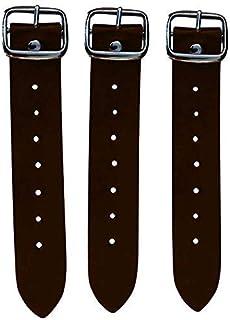 "Kilt Straps and Buckle 7"" Genuine Leather Extender 1.25"" Wide Dark Brown Strap - Set of 3 Pcs"