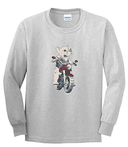 French Bulldog Rescue Gifts French Bulldog Gifts Frenchie on a Motorcycle Youth Long Sleeve T-Shirt Small SpGry Sport Gray