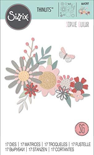 Sizzix 664397 Set di Fustelle Thinlits, Flora Vivace di Sophie Guilar, Multicolore, Taglia unica, 17 pz