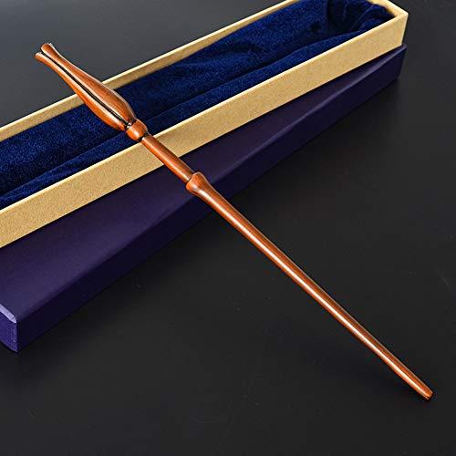 GAOLONG Metal Core Wizard's Wand, Harry Potter Wand Cosplay Movie Props Luna Lovegood Walking Stick Magic Wand Disfraces o decoración,Purple Box,36cm