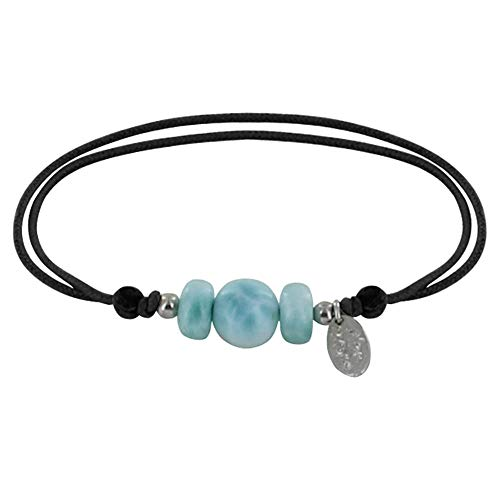 Schmuck Les Poulettes - Armband Link Eine Perle und Zwei Larimar Ringe - Schwarz
