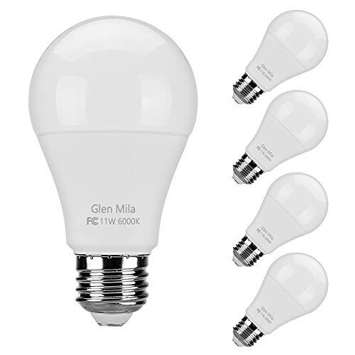 Glen Mila 100W Equivalent LED Light Bulbs, A19 Type (11W) 6000K Daylight Bulbs E26 Medium (Edison) Screw Base 1100 Lumen General Purpose for Home Lighting, Non- Dimmable (4 Pack)