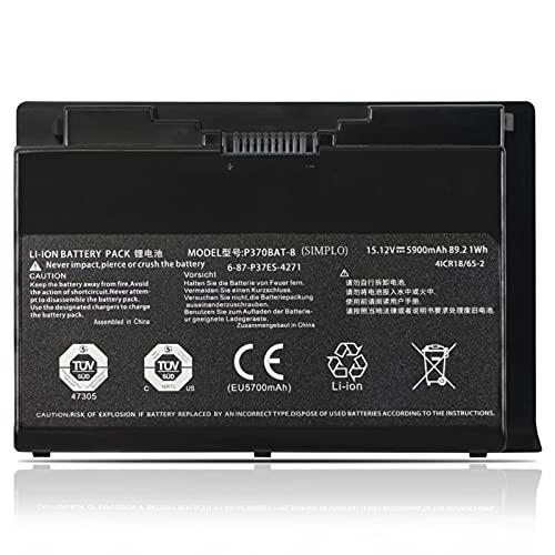 K KYUER 89.21Wh P370BAT-8 Laptop Akku für Clevo P370EM P370EM3 P370SM P370SM-A P370SM3 P375SM P377SM-A P751ZM Sager NP9370 NP9380 NP9390 Schenker W505 W724 XMG P722 P723 P724 Pro 6-87-P37ES-4271