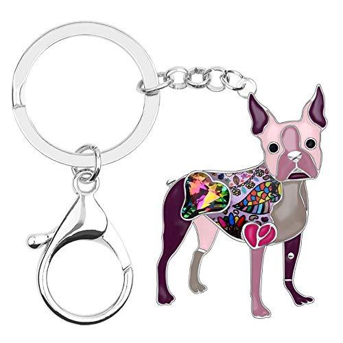 LZHLMCL Llaveros Para Mujeresmalte De Aleación De Diamantes De Imitación Perro Llaveros Llaveros Colgante Animales Mascotas Joyería Para Mujeres Bolso De Niña Púrpura