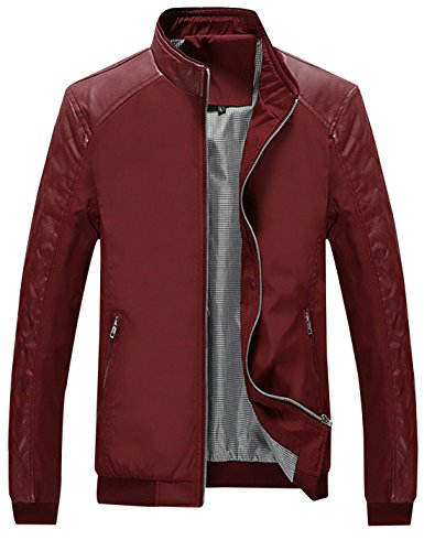 Springrain Men's Casual Stand Collar Slim Leather Sleeve Bomber Jacket (X-Small, Wine Red)