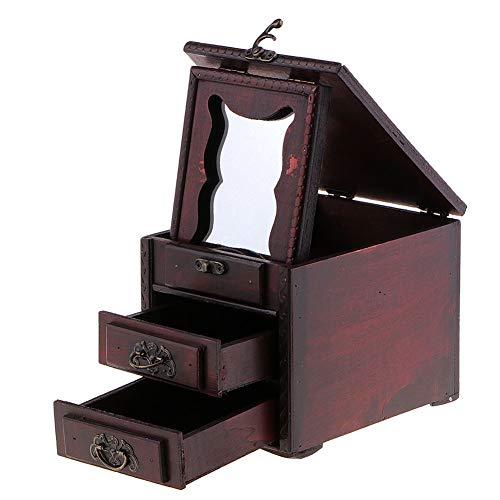 YMXGLT Caja de Almacenamiento de joyería de Madera Vintage,Caja cosmética del cajón de la joyería, Collar a Prueba de Polvo Pendientes Caja de exhibición de Bricolaje de Regalo,2packs