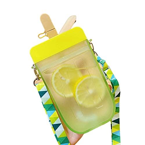 Ububiko Botella De Agua para Niños con Correa para El Hombro, Forma Creativa De La Botella De Agua De Paleta Vacía Adecuada, Viajes, Picnic, Escuela, Sin Bpa