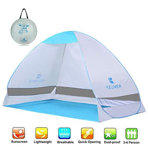 Ydq Tienda de Campaña, Instantanea Beach Tent,Vivac Toldo Sombrilla para Playa Acampar Pesca Senderismo Viaje Carpa, 3-4 Personas,Blanco