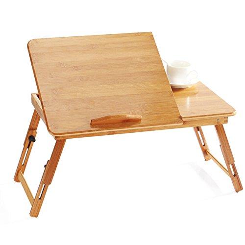 LYQZ Bureau d'ordinateur Pliable, Support de Bambou de lit de Bambou de Portable Portable réglable avec Le Plateau de lit de Service de Petit-déjeuner de tiroir (Taille : 50cm)