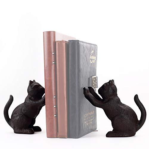 Ambipolar Decorative Cat Theme Bookend, Heavy Duty Cast Iron, Vintage Shelf Decor, Antique Black, T3-66