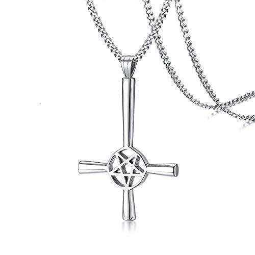 Collar de Cruz de Pentagrama invertido para Hombre símbolo satánico Colgante de Acero Inoxidable al revés Lucifer Satan Jewelry