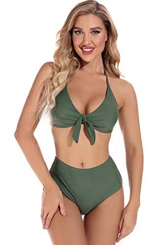 UMIPUBO Costume da Bagno Due Pezzi Donna Brasiliana Bikini a V-Collo Ruffles Regolabile Costumi da Mare Push Up Imbottito Reggiseno Abiti da Spiaggia Vita Alta (2-GN, L)