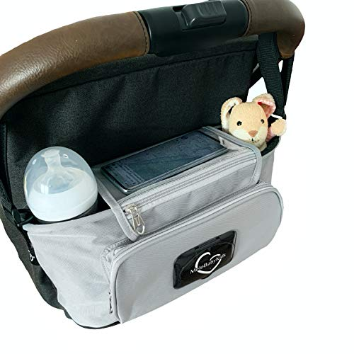 Kinderwagen Organizer Premium, Tochscreen Handytasche, Feuchttuchspender, Aufbewahrungstasche (gray/hellgrau)