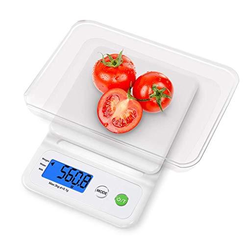 Qinmo Escala electrónica, báscula de pesaje de cocina digital Escala de bolsillo digital con bandeja, 3kg / 0.1g Balanzas de cocina Básculas de pesaje de joyería, escamas de alimentación de acero inox