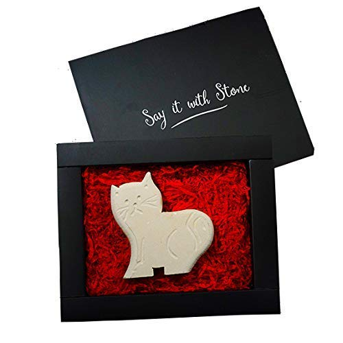 Happy Cat Gift Handmade in Italy - Contains Fossil Fragments - Symbol of Patience, Spirit of Adventure, Curiosity & Independence - Box & Blank Message Card Incl Mothers Day Gifts Idea
